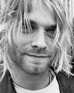 HIGHER FEES APPLY Kurt Cobain from Nirvana pose backstage at the Reading Festival 23rd August 1991.